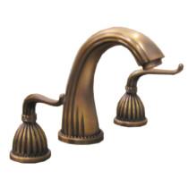 Elite Antique Brass Three Hole Bathroom Faucet 8-inch Spread