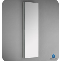 Fresca FMC8030 15-Inch Wide x 52-Inch Tall Bathroom Mirrored Medicine Cabinet