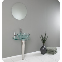 Fresca Netto (single) 24-Inch Clear Glass Modern Bathroom Vanity Set