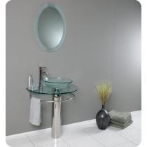Fresca Attrazione (single) 28.8-Inch Clear Glass Modern Bathroom Vanity Set