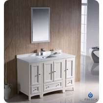 Fresca Oxford (single) 48-Inch Antique White Transitional Bathroom Vanity Set