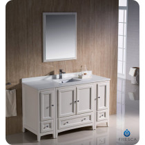 Fresca Oxford (single) 54-Inch Antique White Transitional Bathroom Vanity Set