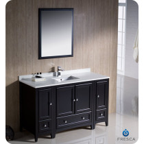 Fresca Oxford (single) 54-Inch Espresso Transitional Bathroom Vanity Set