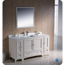 Fresca Oxford (single) 60-Inch Antique White Transitional Bathroom Vanity Set