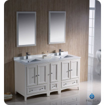 Fresca Oxford (double) 60-Inch Antique White Transitional Bathroom Vanity Set