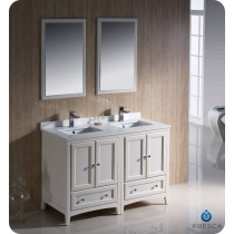Fresca Oxford (double) 48-Inch Antique White Transitional Bathroom Vanity Set