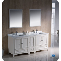 Fresca Oxford (double) 72-Inch Antique White Transitional Bathroom Vanity Set