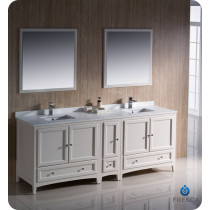 Fresca Oxford (double) 84-Inch Antique White Transitional Bathroom Vanity Set