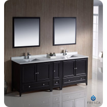 Fresca Oxford (double) 84-Inch Espresso Transitional Bathroom Vanity