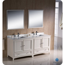 Fresca Oxford (double) 72-Inch Antique White Transitional Bathroom Vanity Set (Model 2)