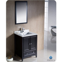 Fresca Oxford (single) 24-Inch Transitional Espresso Bathroom Vanity Set