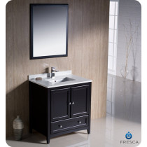Fresca Oxford (single) 30-Inch Espresso Transitional Bathroom Vanity Set