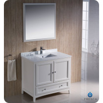 Fresca Oxford (single) 36-Inch Antique White Transitional Bathroom Vanity Set