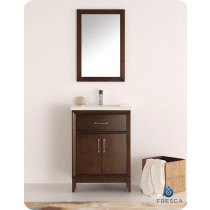 Fresca Cambridge (single) 24-Inch Antique Coffee Modern Bathroom Vanity with Integrated Sink