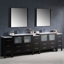 Fresca Torino (double) 108-Inch Espresso Modern Bathroom Vanity with Integrated Sinks