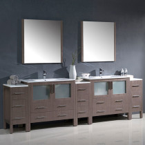 Fresca Torino (double) 108-Inch Gray Oak Modern Bathroom Vanity with Integrated Sinks