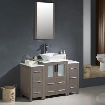 Fresca Torino (single) 48-Inch Gray Oak Modern Bathroom Vanity with Vessel Sink