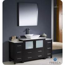 Fresca Torino (single) 59.75-Inch Espresso Modern Bathroom Vanity with Vessel Sink