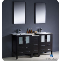 Fresca Torino (double) 60-Inch Espresso Modern Bathroom Vanity with Integrated Sinks