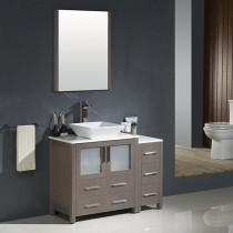 Fresca Torino (single) 42-Inch Gray Oak Modern Bathroom Vanity with Vessel Sink