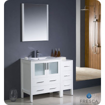 Fresca Torino (single) 42-Inch White Modern Bathroom Vanity With Integrated Sink