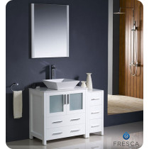 Fresca Torino (single) 42-Inch White Modern Bathroom Vanity with Vessel Sink