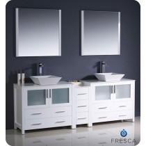 Fresca Torino (double) 83.5-Inch White Modern Bathroom Vanity with Vessel Sinks