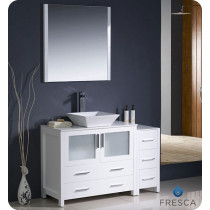 Fresca Torino (single) 47.75-Inch White Modern Bathroom Vanity with Vessel Sink