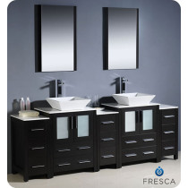 Fresca Torino (double) 84-Inch Espresso Modern Bathroom Vanity with Vessel Sinks