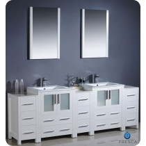 Fresca Torino (double) 84-Inch White Modern Bathroom Vanity with Integrated Sinks