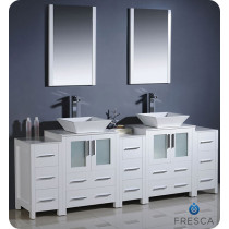 Fresca Torino (double) 84-Inch White Modern Bathroom Vanity with Vessel Sinks