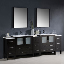 Fresca Torino (double) 96-Inch Espresso Modern Bathroom Vanity with Integrated Sinks