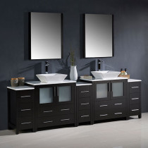 Fresca Torino (double) 96-Inch Espresso Modern Bathroom Vanity with Vessel Sinks