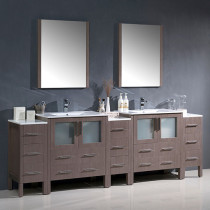 Fresca Torino (double) 96-Inch Gray Oak Modern Bathroom Vanity with Integrated Sinks