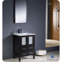 Fresca Torino (single) 24-Inch Espresso Modern Bathroom Vanity with Integrated Sink