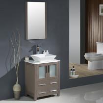 Fresca Torino (single) 24-Inch Gray Oak Modern Bathroom Vanity with Vessel Sink