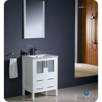 Fresca Torino (single) 24-Inch White Modern Bathroom Vanity with Integrated Sink