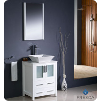 Fresca Torino (single) 24-Inch White Modern Bathroom Vanity with Vessel Sink