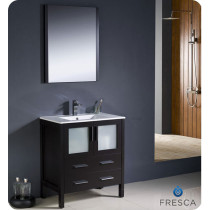 Fresca Torino (single) 30-Inch Espresso Modern Bathroom Vanity with Integrated Sink