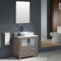 Fresca Torino (single) 30-Inch Gray Oak Modern Bathroom Vanity with Vessel Sink