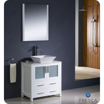 Fresca Torino (single) 30-Inch White Modern Bathroom Vanity with Vessel Sink