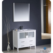 Fresca Torino (single) 35.75-Inch White Modern Bathroom Vanity with Integrated Sink
