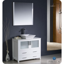Fresca Torino (single) 35.75-Inch White Modern Bathroom Vanity with Vessel Sink