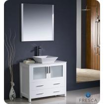 Fresca Torino (single) 35.75-Inch White Modern Bathroom Vanity with Vessel Sink