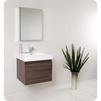 Fresca Nano (single) 23.4-Inch Gray Oak Modern Wall-Mount Bathroom Vanity Set