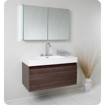 Fresca Mezzo (single) 39-Inch Gray Oak Modern Wall-Mount Bathroom Vanity Set