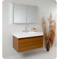 Fresca Mezzo (single) 39-Inch Teak Modern Wall-Mount Bathroom Vanity Set