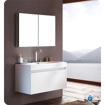 Fresca Mezzo (single) 39-Inch White Modern Wall-Mount Bathroom Vanity Set