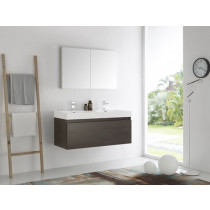 Fresca Mezzo (double) 47.3-Inch Gray Oak Modern Wall-Mount Bathroom Vanity Set