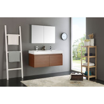 Fresca Mezzo (double) 47.3-Inch Teak Modern Wall-Mount Bathroom Vanity Set